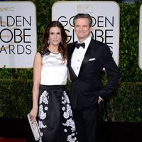 Livia and Colin Firth at the Golden Globes 2015 red carpet