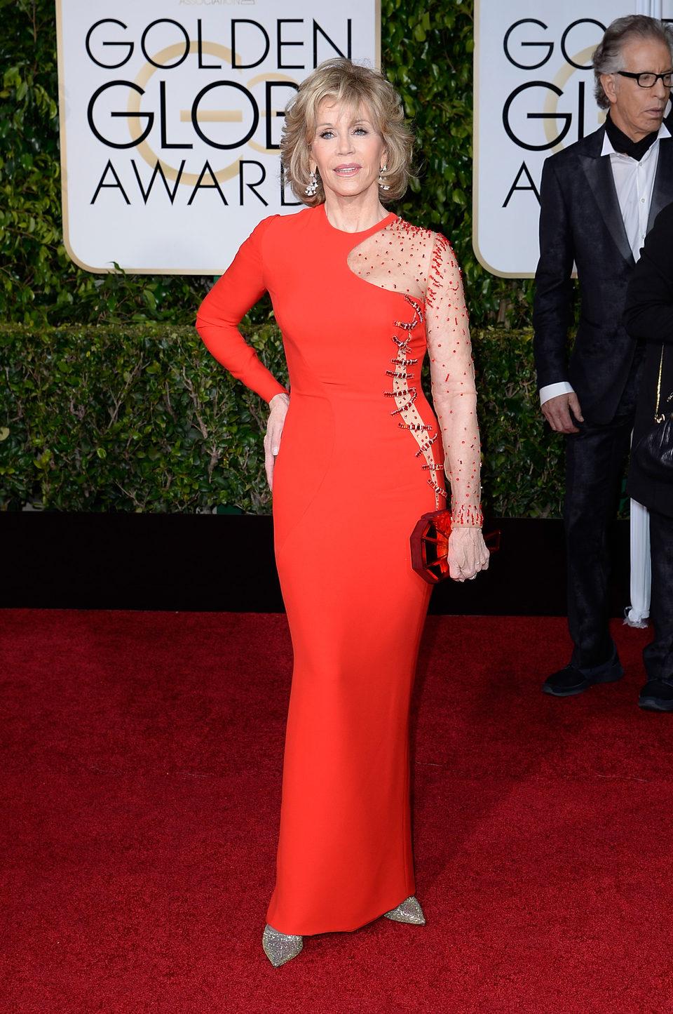 Jane Fonda en la alfombra roja de los Globos de Oro 2015