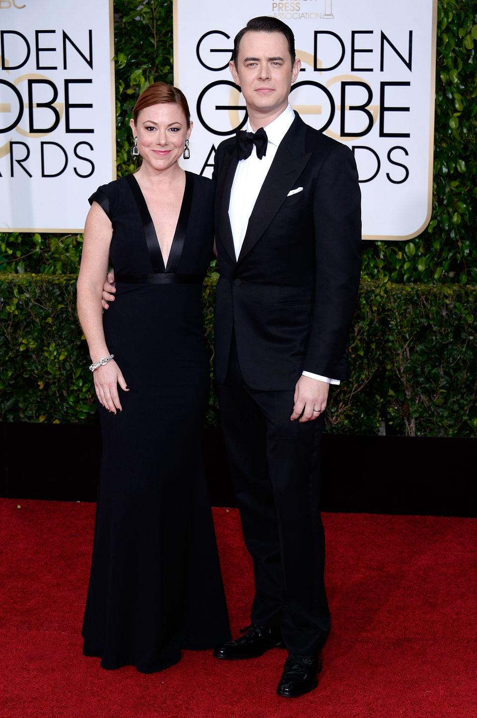 Colin Hanks y Samantha Bryant en la alfombra roja de los Globos de Oro 2015