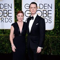 Colin Hanks and Samantha Bryant at the Golden Globes 2015 red carpet