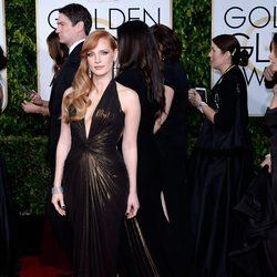 Jessica Chastain en la alfombra roja de los Globos de Oro 2015