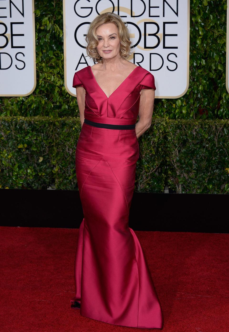 Jessica Lange en la alfombra roja de los Globos de Oro 2015
