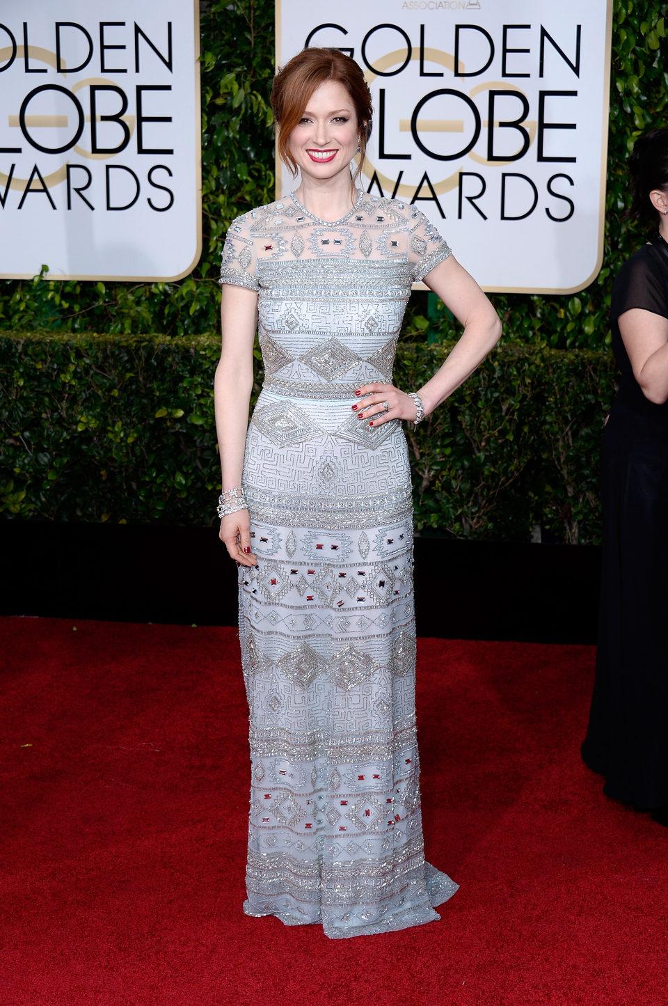 Ellie Kemper en la alfombra roja de los Globos de Oro 2015