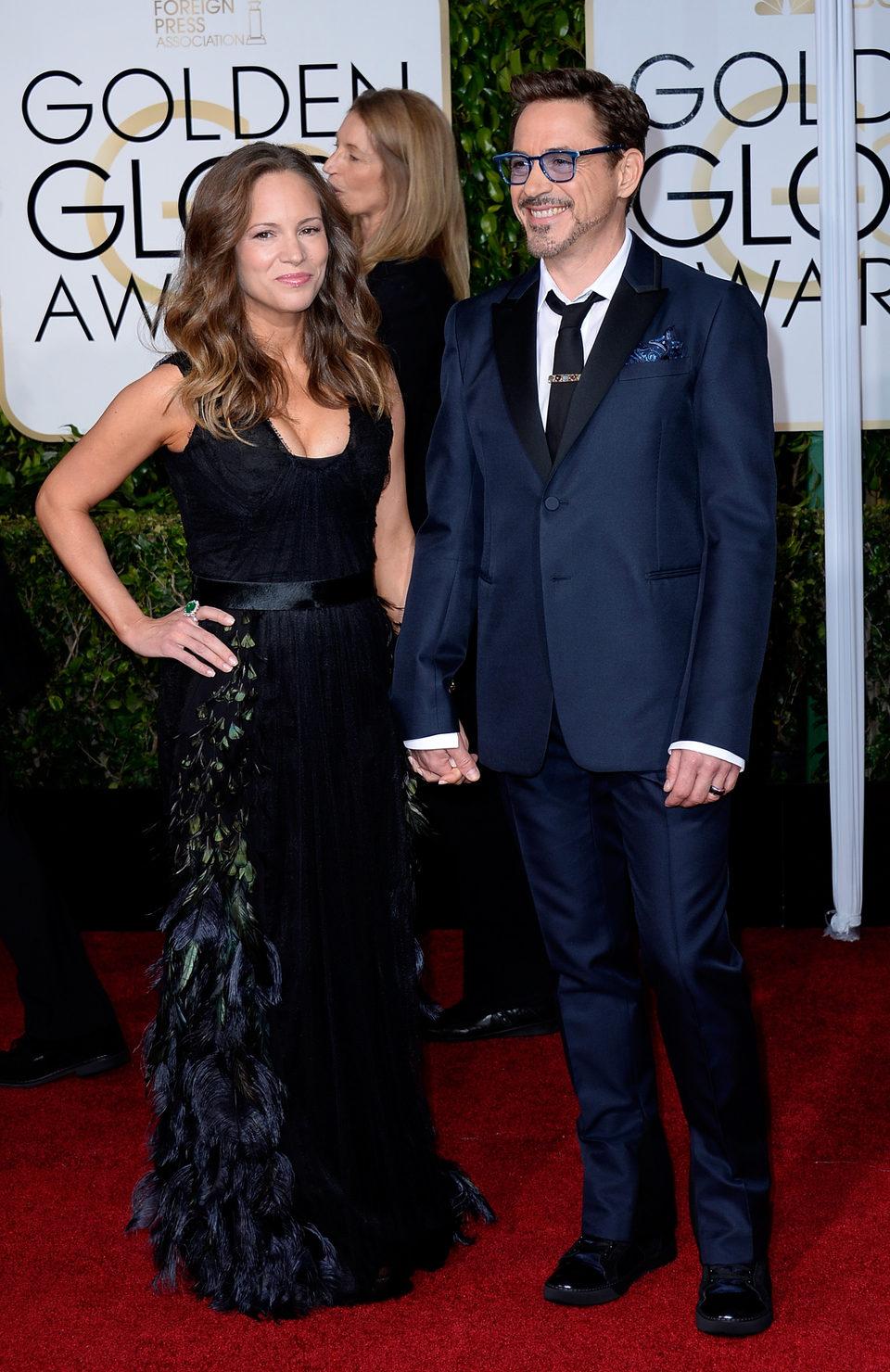 Robert Downey Jr. y Susan Downey en la alfombra roja de los Globos de Oro 2015