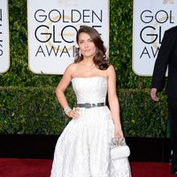 Salma Hayek at the Golden Globes 2015 red carpet
