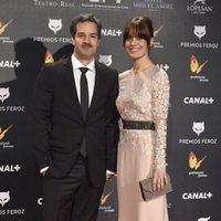 Alexandra Jiménez y su pareja, Luis Rallo, en los Premios Feroz 2015