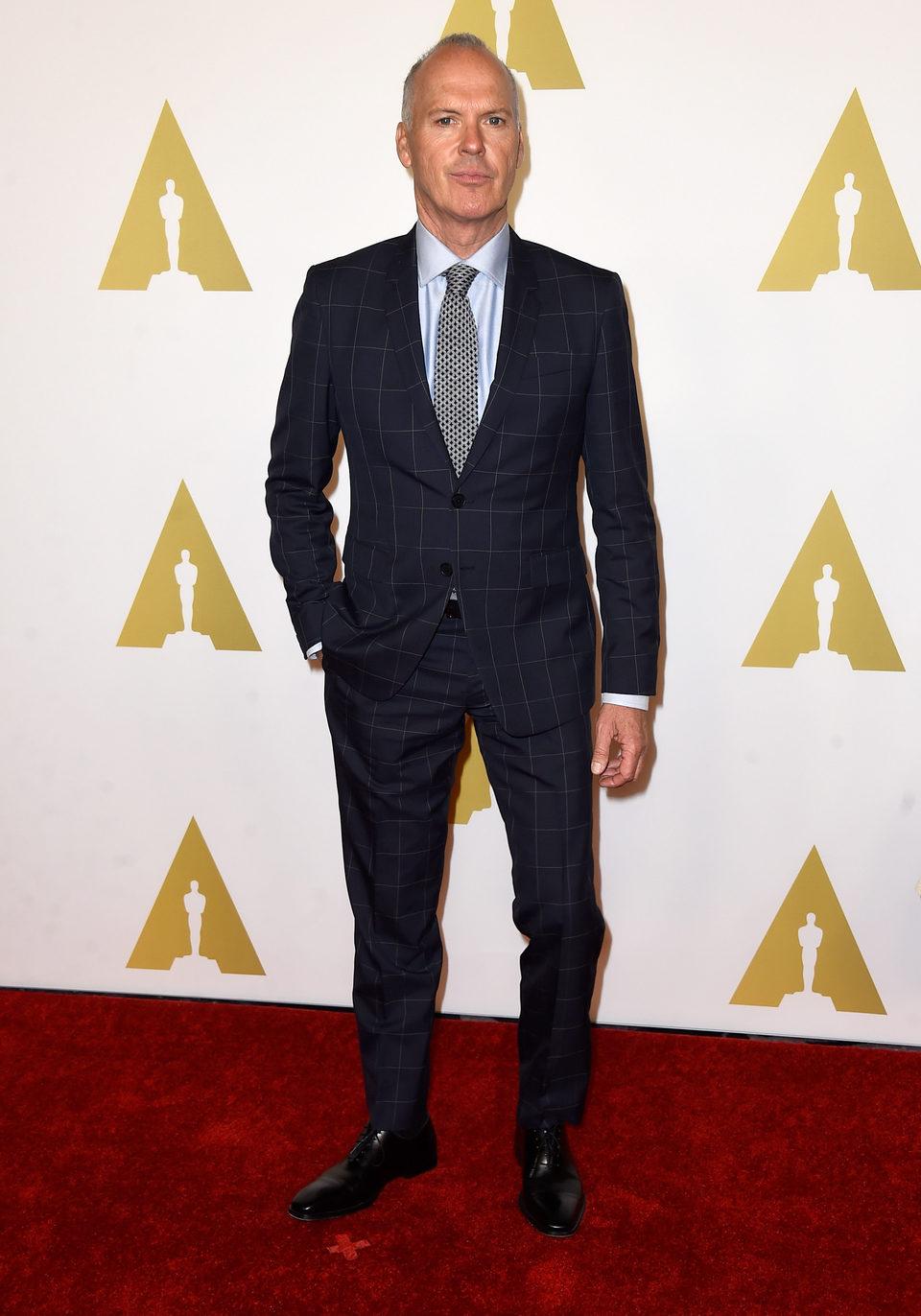 Michael Keaton en el almuerzo de los nominados a los Oscar 2015