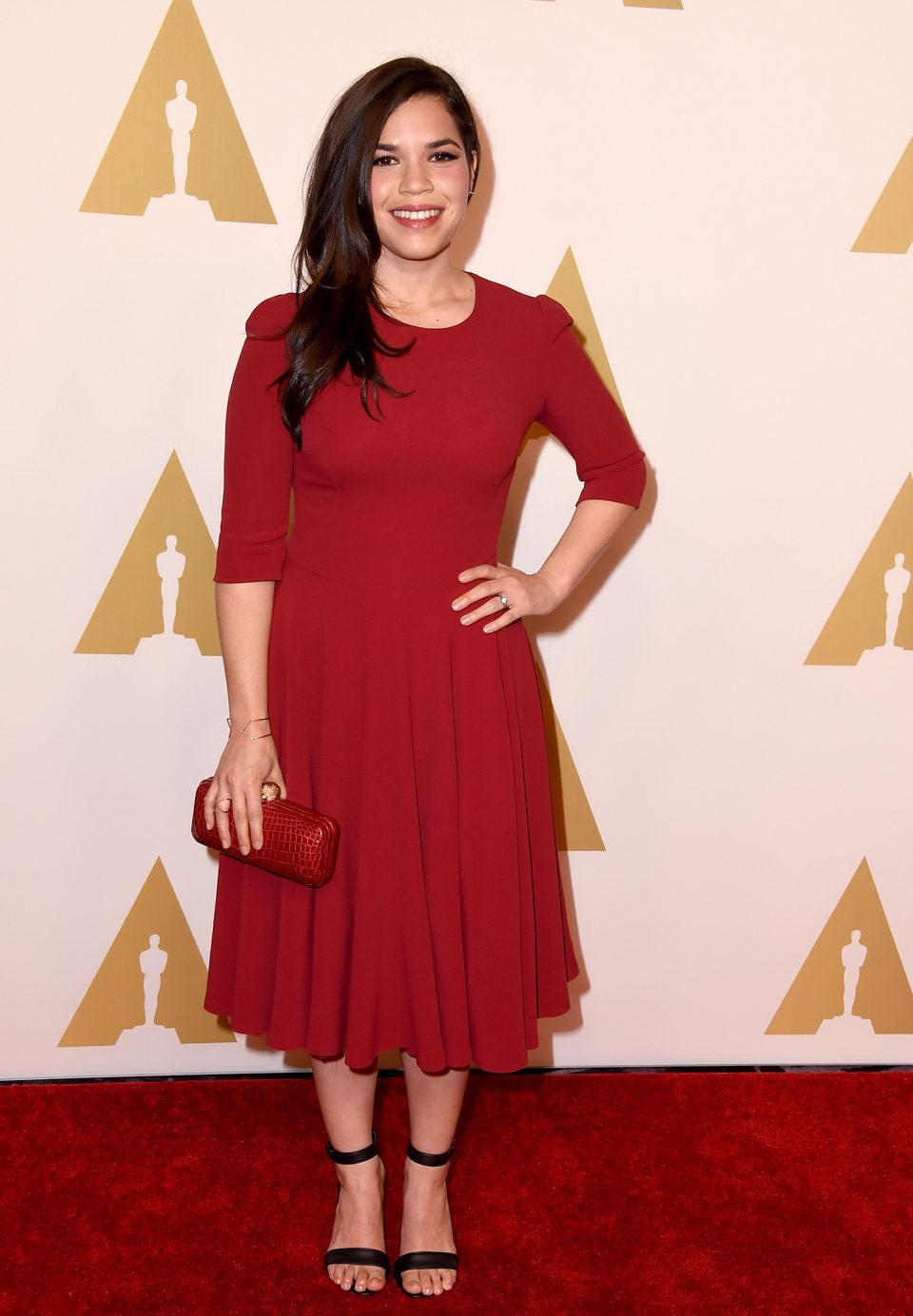 America Ferrera en el almuerzo de los nominados a los Oscar 2015