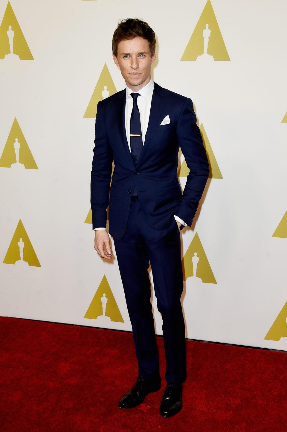 Eddie Redmayne en el almuerzo de los nominados a los Oscar 2015