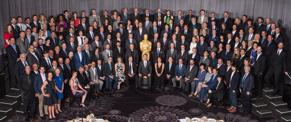 Foto de familia en el almuerzo de los nominados a los Oscar 2015