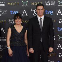 Judith Colell y Pedro Sánchez en los Goya 2015