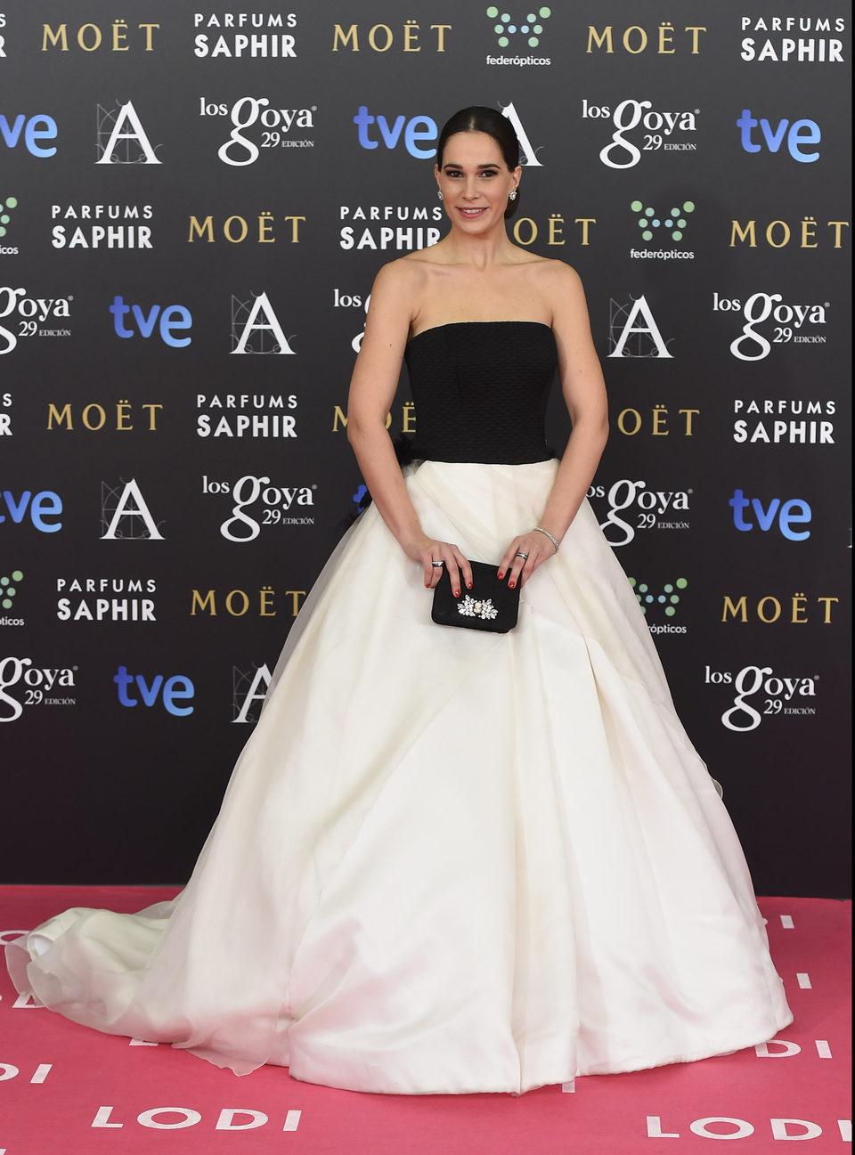 Celia Freijeiro en la alfombra roja Goya 2015