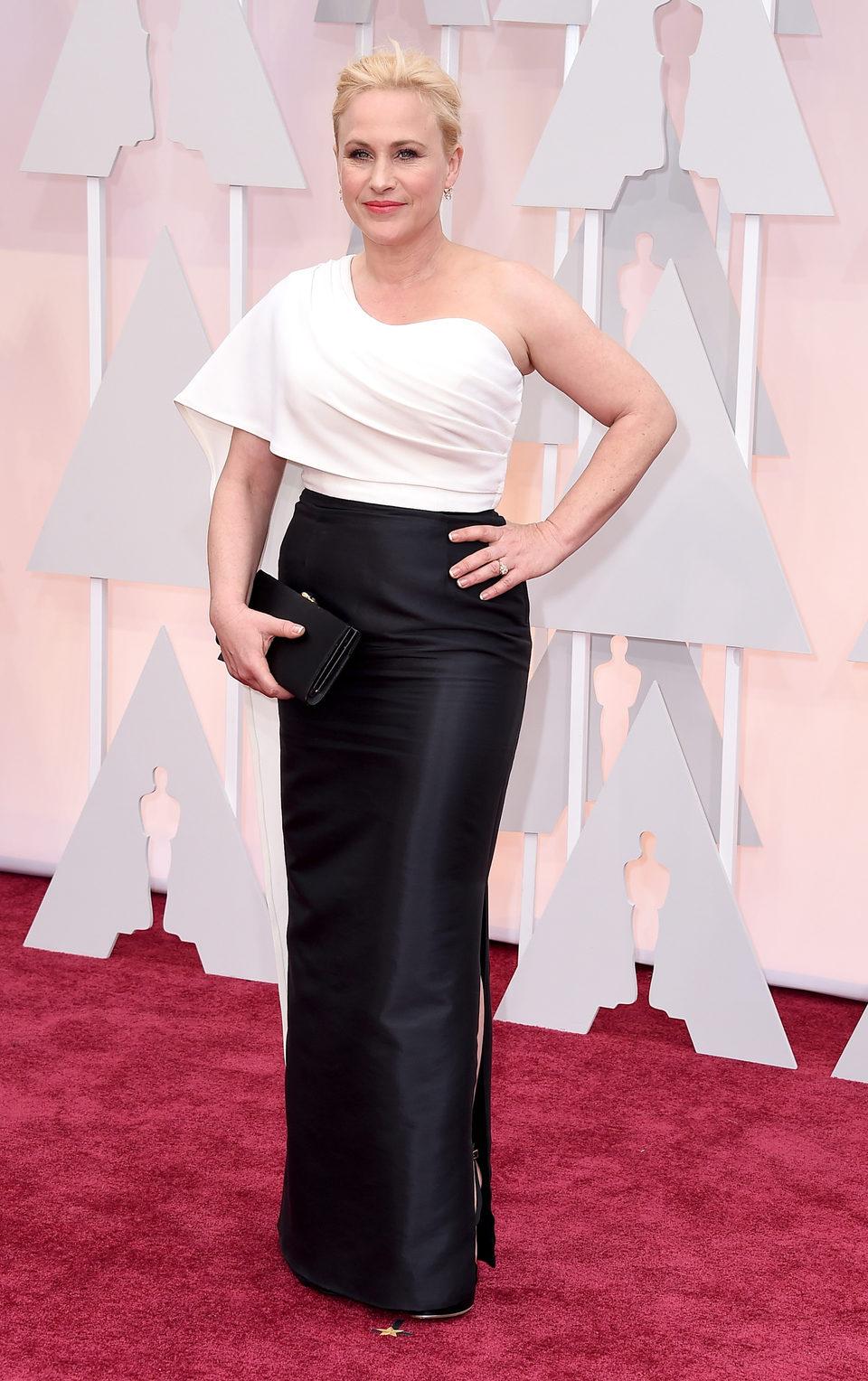 Patricia Arquette en la alfombra roja de los Premios Oscar 2015
