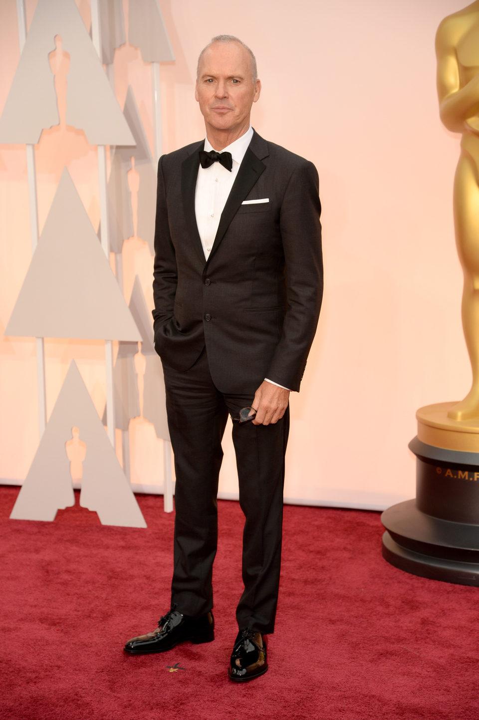 Michael Keaton en la alfombra roja de los Oscar 2015