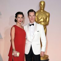 Benedict Cumberbatch and her wife Sophie Hunter at the Oscars Awards 2015 red carpet