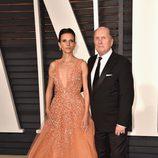 Robert Duvall y su mujer Luciana en la alfombra roja de los Oscar 2015