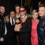 El reparto de 'Vengadores: La era de Ultrón' durante la ceremonia de los MTV Movie Awards 2015