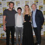 Josh Hutcherson, Jennifer Lawrence, Liam Hemsworth y Francis Lawrence en la Comic-Con 2015