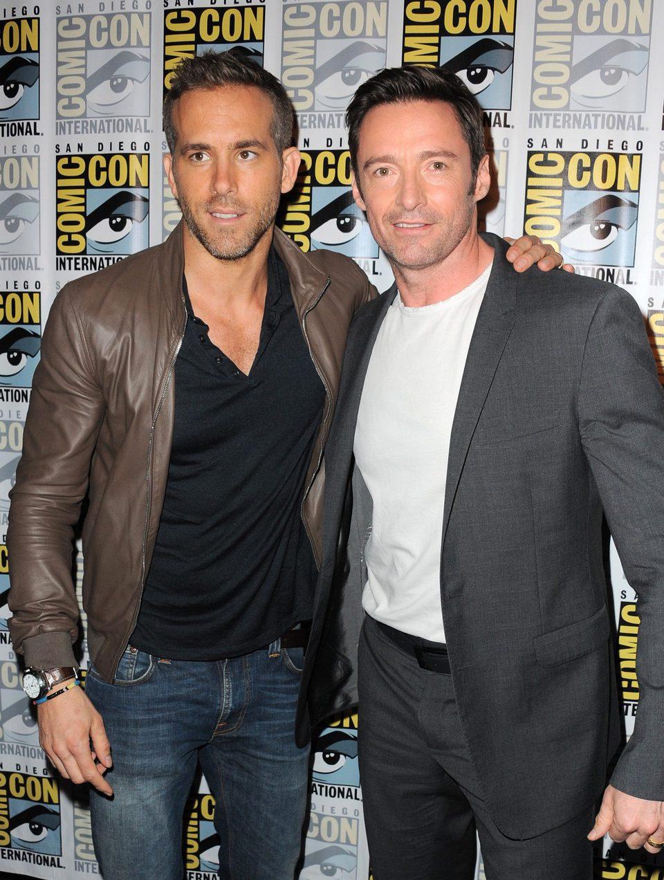 Ryan Reynolds y Hugh Jackman en la Comic-Con 2015