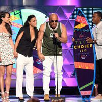 Actors Jordana Brewster, Michelle Rodriguez, Vin Diesel and Ludacris accept the Choice Movie: Action Award for Furious 7 onstage during the Teen Choice Awa