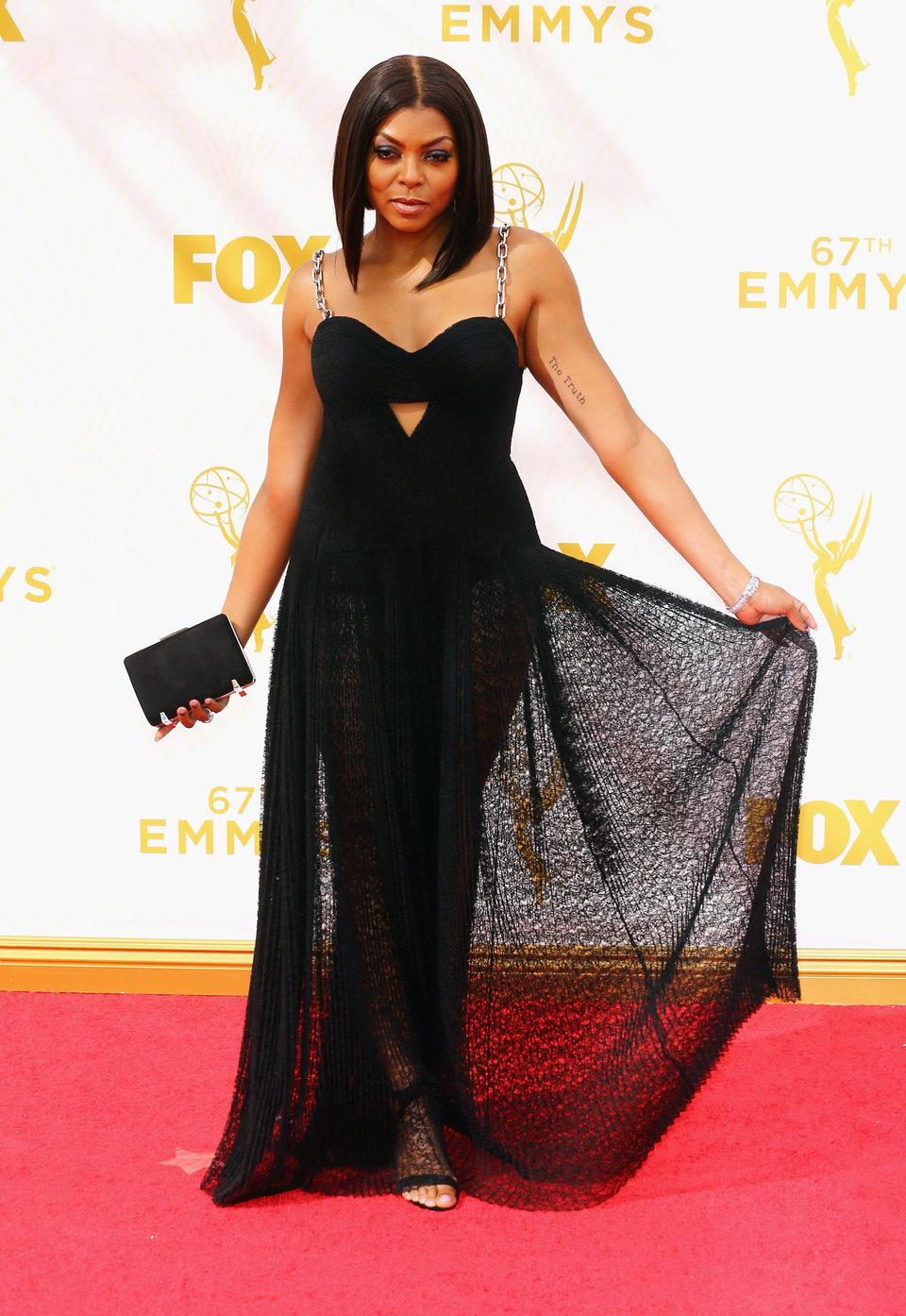 Taraji P. Henson en la alfombra roja de los Emmy 2015
