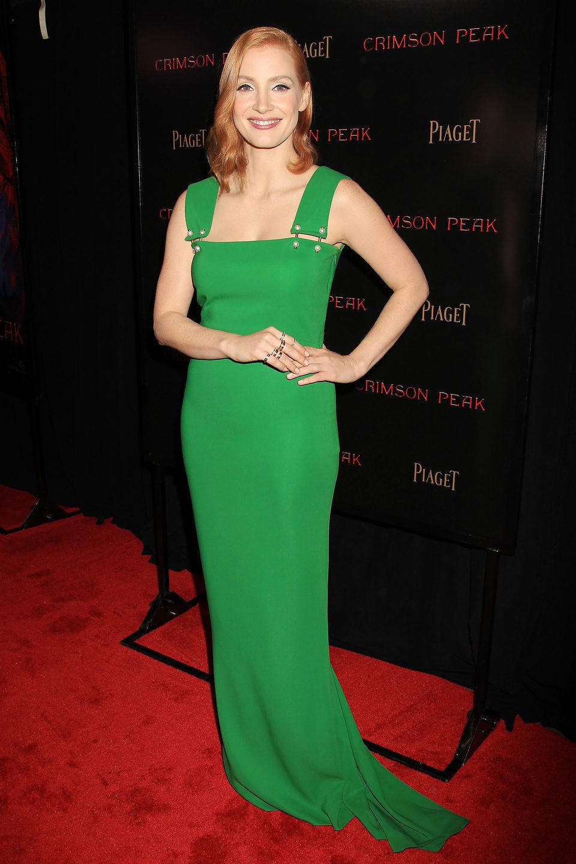 Jessica Chastain en la premiere en Nueva York de 'La cumbre escarlata'