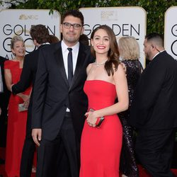Emmy Rossum and Sam Esmail at the 2016 Golden Globes red carpet
