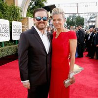 Ricky Gervais and Jane Fallon at the 2016 Golden Globes red carpet