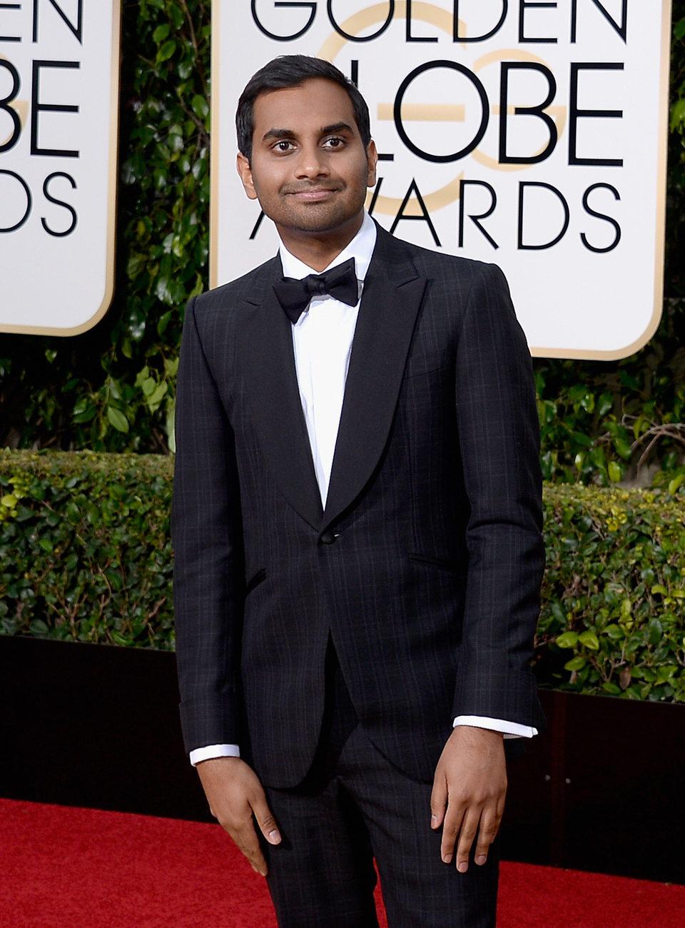 Aziz Ansari at the 2016 Golden Globes red carpet