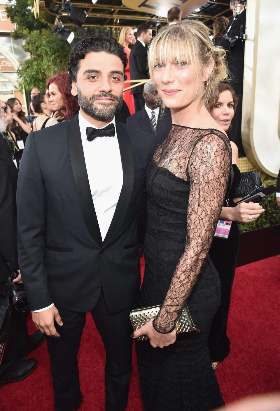 Oscar Isaac and Maria Miranda at the 2016 Golden Globes red carpet