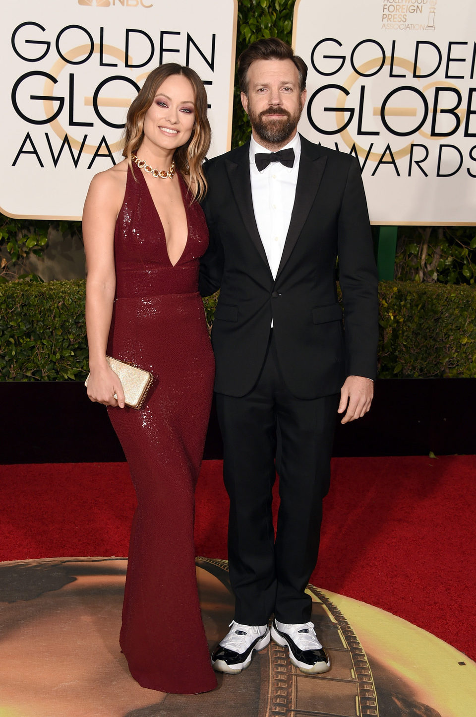 Jason Sudeikis and Olivia Wilde at the 2016 Golden Globes red carpet