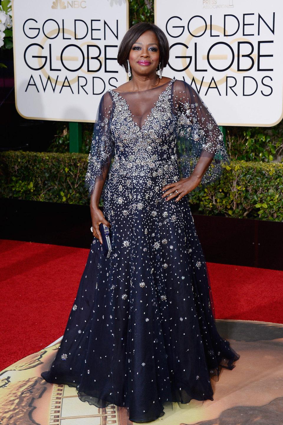 Viola Davis en la alfombra roja de los Globos de Oro 2016