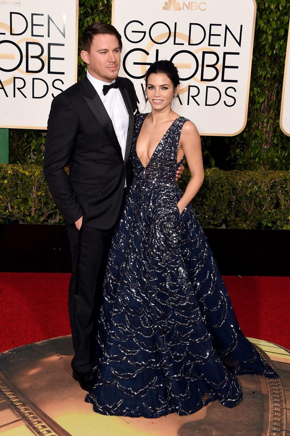 Channing Tatum y Jenna Dewan Tatum en la alfombra roja de los Globos de Oro 2016
