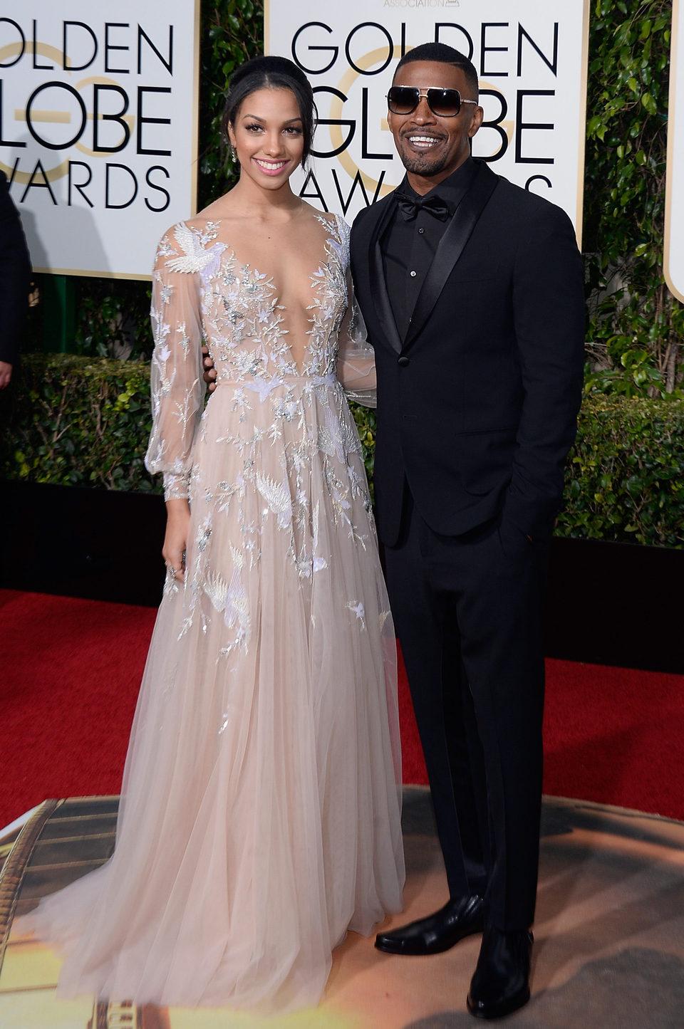 Jamie Foxx and Corinne Foxx at the 2016 Golden Globes red carpet