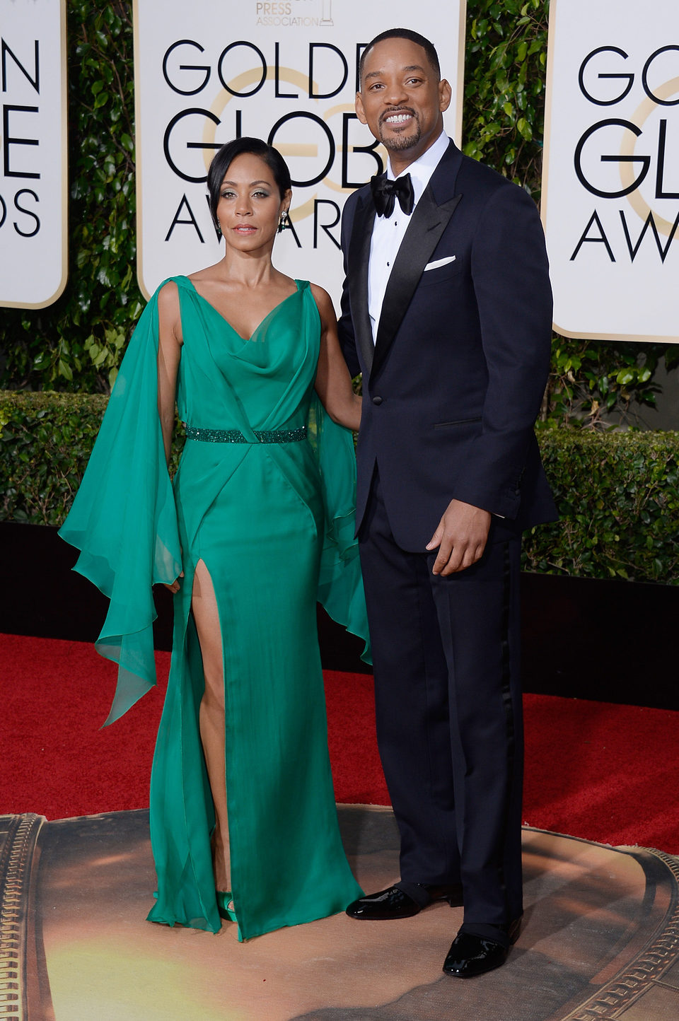 Will Smith y Jada Pinkett Smith en la alfombra roja de los Globos de Oro 2016