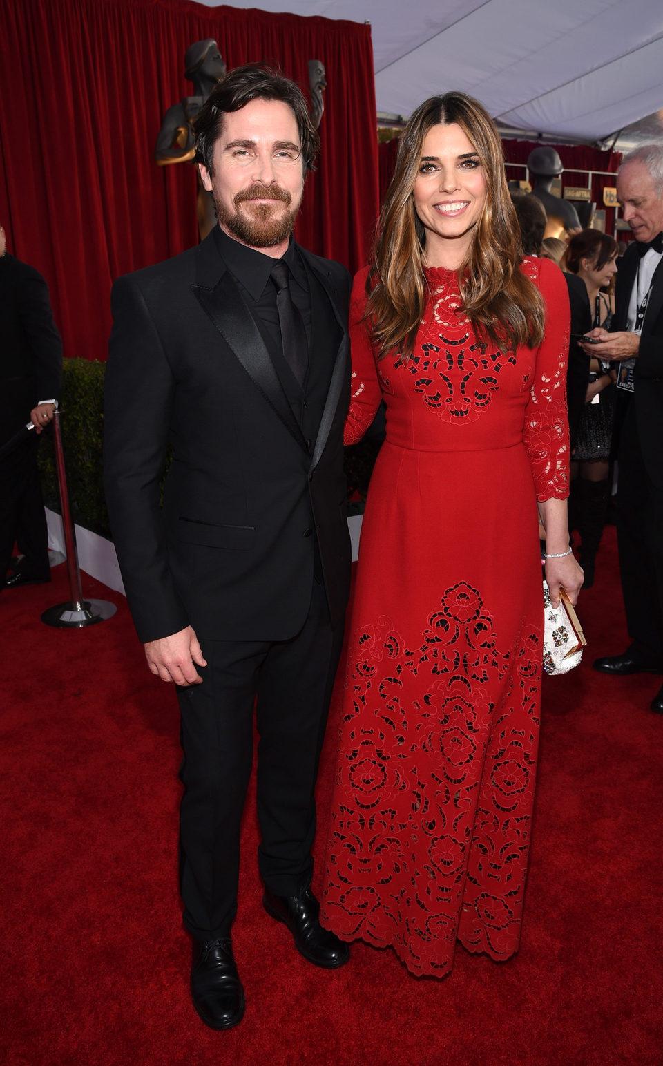 Christian Bale y Sibi Blazic en la alfombra roja de los premios del Sindicato de Actores 2016.