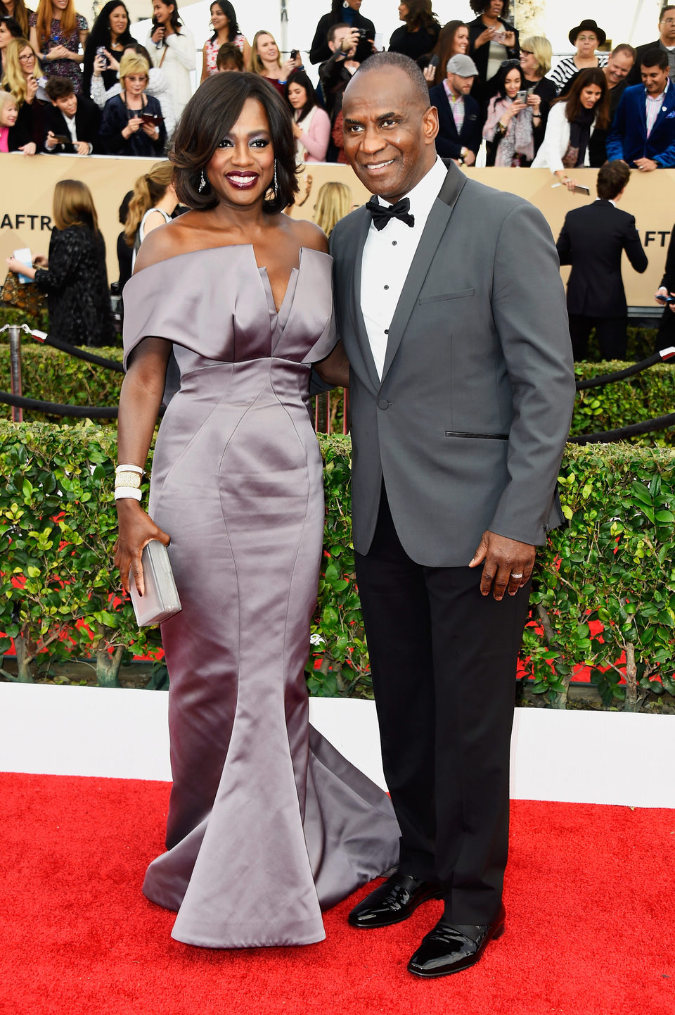 Viola Davis y Julius Tennon en la alfombra roja de los SAG Awards 2016
