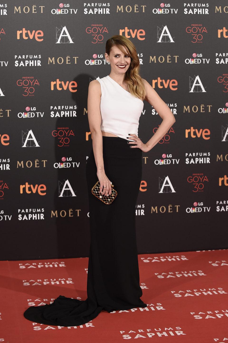 Elena Ballesteros en la alfombra roja de los Premios Goya 2016