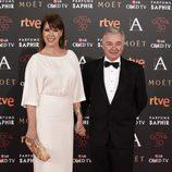 Mabel Lozano y Eduardo Campoy en la alfombra roja de los Premios Goya 2016