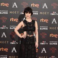 Sara Vega en la alfombra roja de los Premios Goya 2016