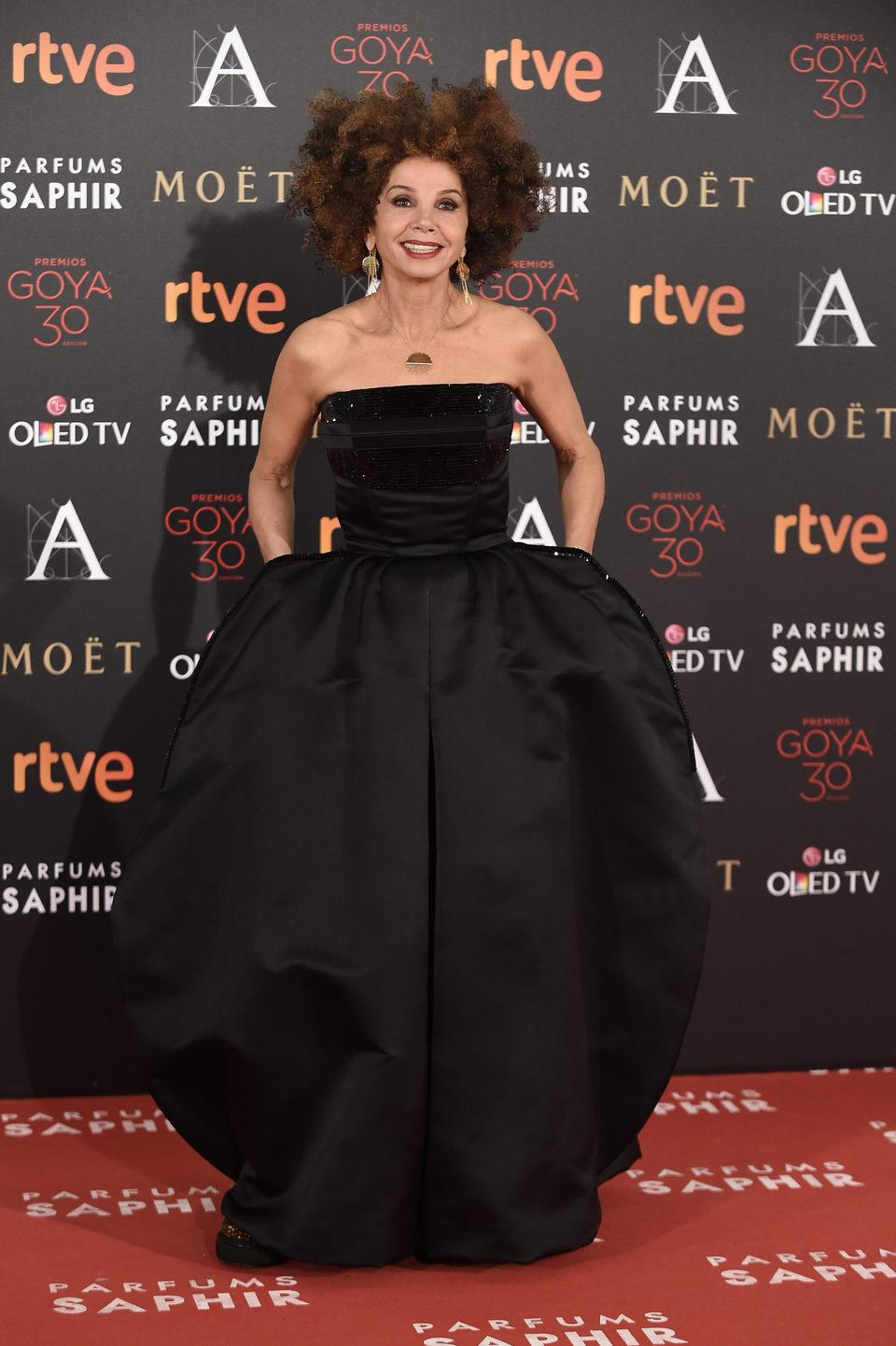 Victoria Abril en la alfombra roja de los Premios Goya 2016