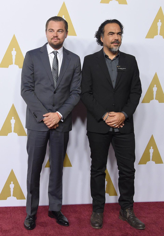 Leonardo DiCaprio y Alejandro González Iñárritu en la comida de nominados a los Oscar 2016