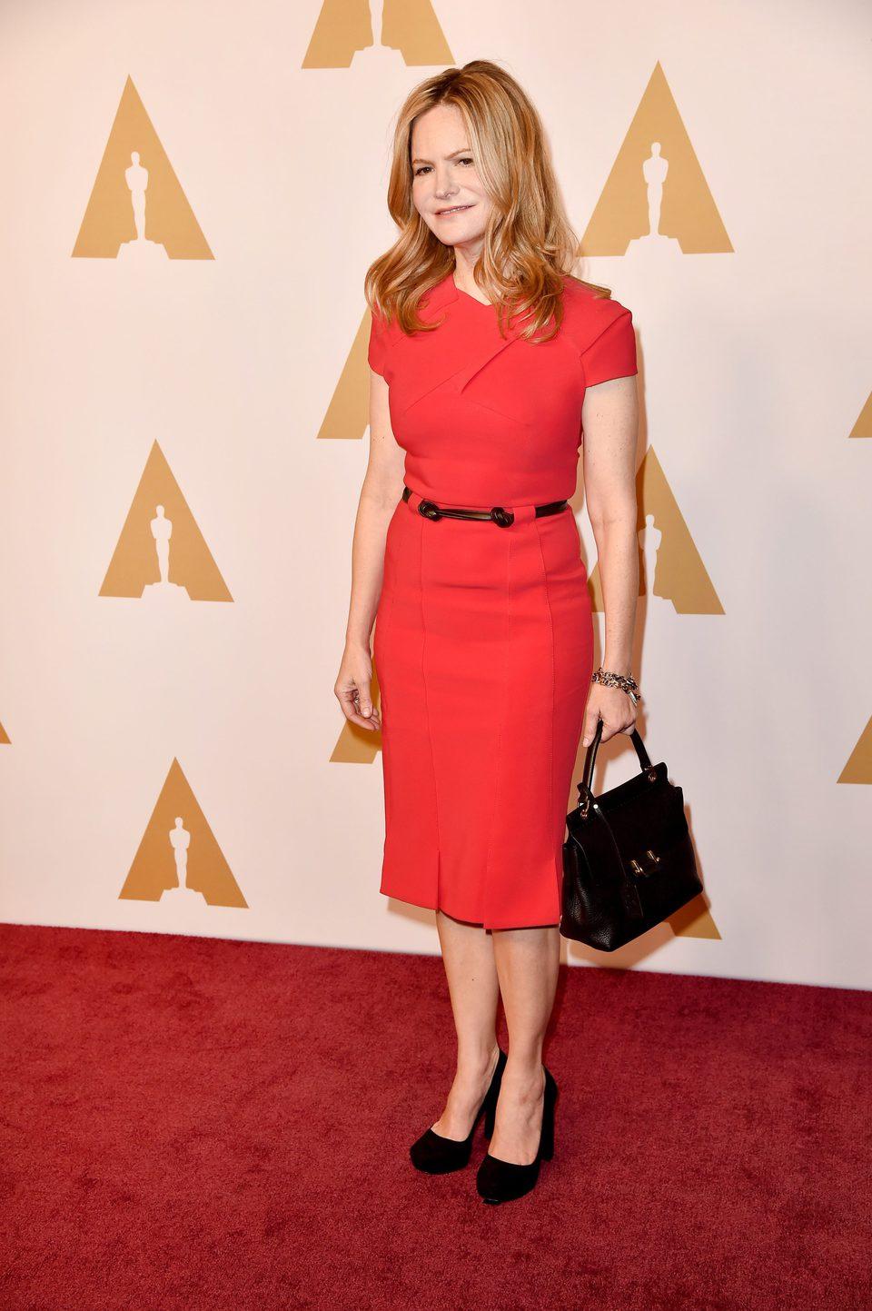 Jennifer Jason Leigh en la comida de nominados a los Oscar 2016