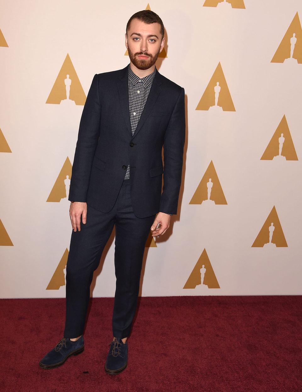 Sam Smith en la comida de nominados a los Oscar 2016