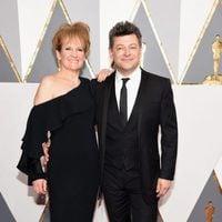 Andy Serkis y Lorraine Ashbourne en la alfombra roja de los Oscar 2016