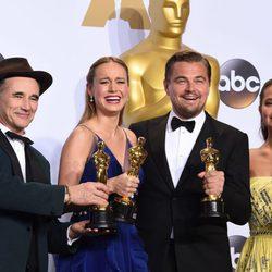 Mark Rylance, Brie Larson, Leonardo DiCaprio y Alicia Vikander Oscars 2016