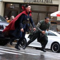 Benedict Cumberbatch and Chiwetel Ejiofor running as Doctor Strange and Baron Mordo