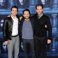Rob McElhenney, Charlie Day y Glenn Howerton en la premiere de la sexta temporada de 'Juego de Tronos'