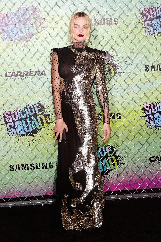 Margot Robbie en la premiere mundial de 'Escuadrón Suicida'