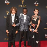 Gaten Matarazzo, Caleb McLaughlin and Millie Bobby Brown at the Emmys 2016 red carpet
